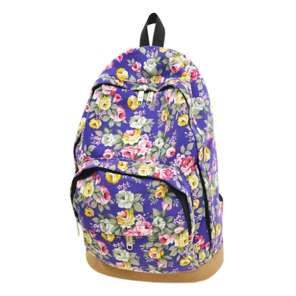 2015 Direct Selling Offer Women's Floral Canvas Backpacks Girl Student School Bags Travel Shoulder Bag Mochila 5 free Shipping(China (Mainland))