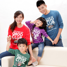Qboo N colors Women men girls boys o-neck long-sleeve T-shirt family fashion Q343127 family outfits clothing