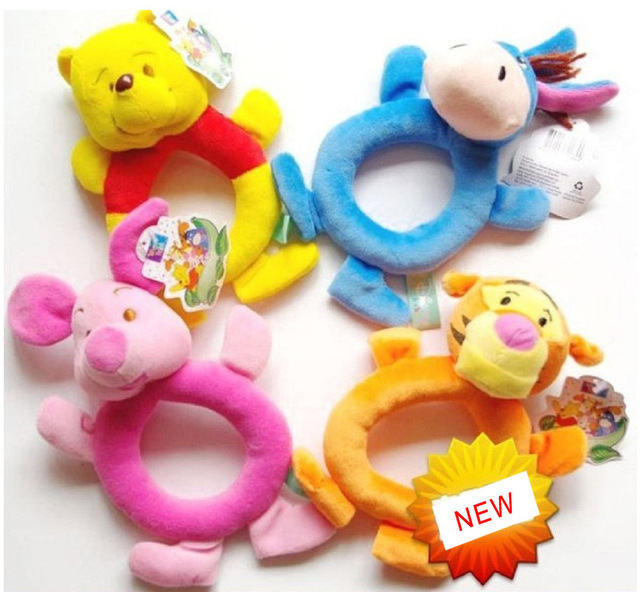 Free Shipping 2 pcs/lot New Style Classic Cartoon Baby Rattles 4 styles Random Sent ETWJ006