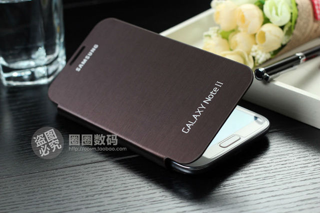 For samsung  GALAXY NOTE II n7100 N7108 case COVER LEATHER battery back flip Pebble Blue black free shipping