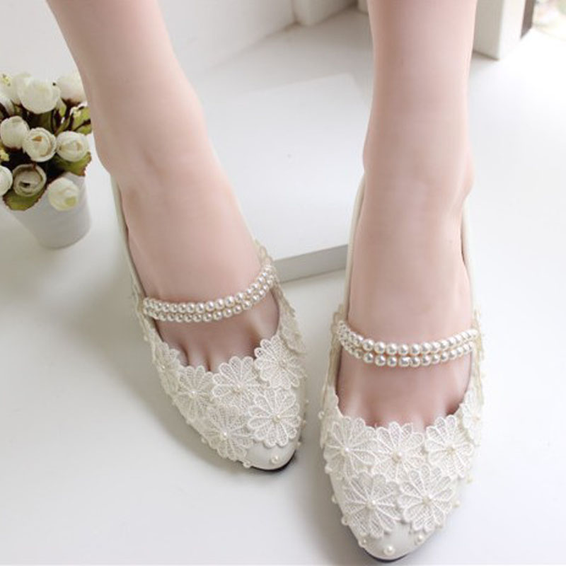 Flat heel white silk floral wedding shoes bridal beading footwear women shoes ballerina ballet flats(China (Mainland))