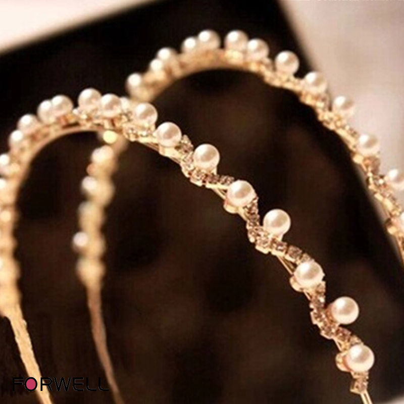 Crystal fine hair hoop headband DIY temperament alloy pearl rhinestone hairpins head flower hair accessories jewelry(China (Mainland))