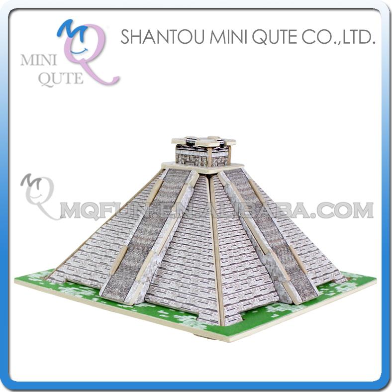 60pcs/lot Mini Qute 3D Wooden Puzzle Maya Pyramid world architecture famous building kids model educational toys gift NO.MJ206(China (Mainland))