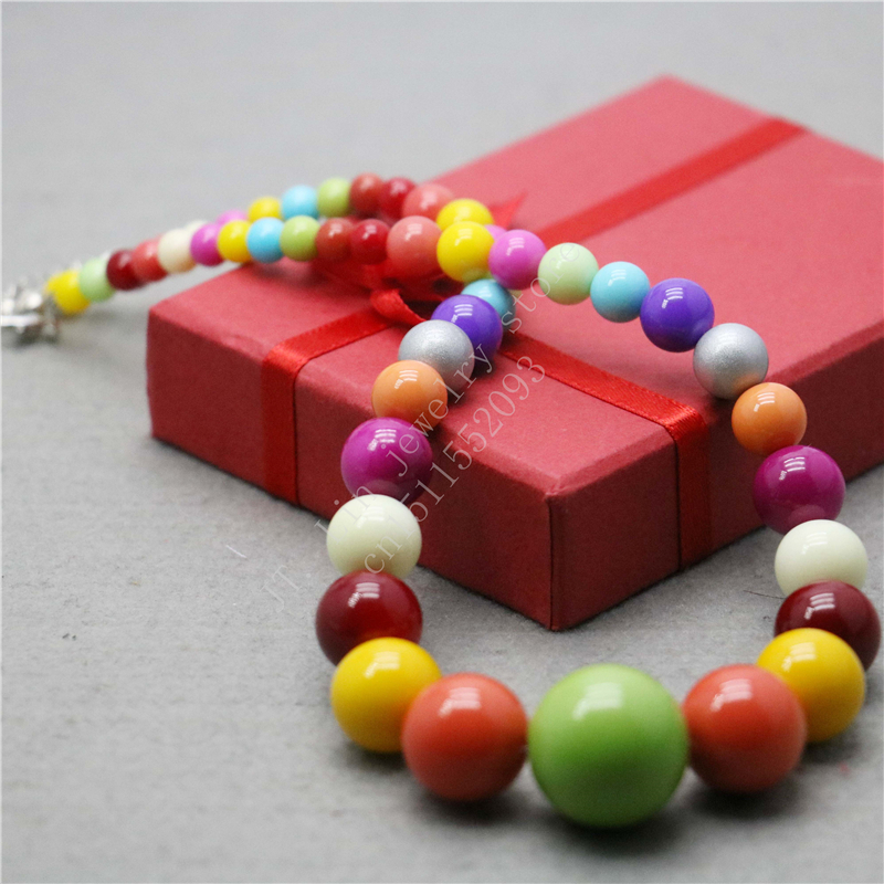 L9083 New style 6-20mm Multicolor Candy Shell beads necklace,Fashion Charming High-end atmosphere Woman Jewelry(China (Mainland))
