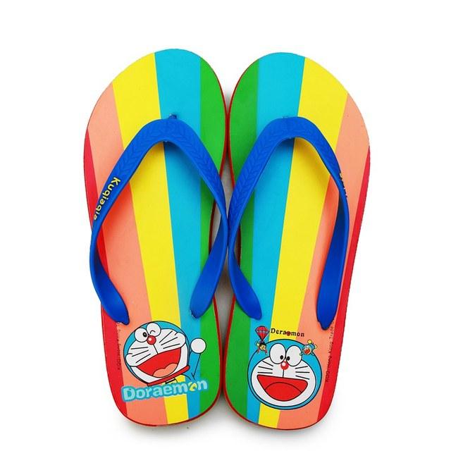 doraemon flip flops summer beach rainbow sandals cartoon