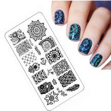 2016 Los stempel Blume Nail Stamping Platten Hohe Bildqualität Edelstahlplatte Bild DIY Nail art Vorlagen Schönheit Nagel kunst(China (Mainland))