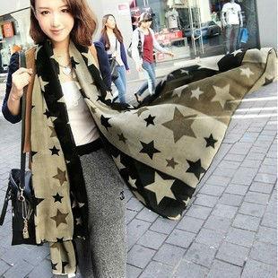 Бесплатная доставка звезды печать шелк шарф мода теплые шали обруча пашмины мыс бесплатная доставка