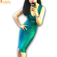 Shining Green Gold Foil 2015 Women bandage Dress Celebrity summer style Dress Club Party Bodycon Green Gold Red Drop Ship HL8628(China (Mainland))