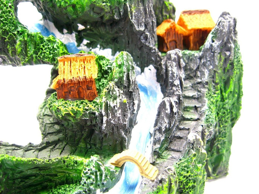 mountain view river m aquarium ornament decor tree house