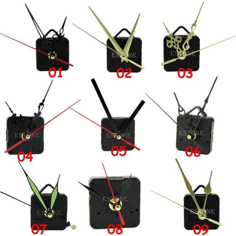 F85 New 14 Styles Black Quartz Clock Movement Mechanism Repair DIY Tool Kit + Black Hands Hot(China (Mainland))