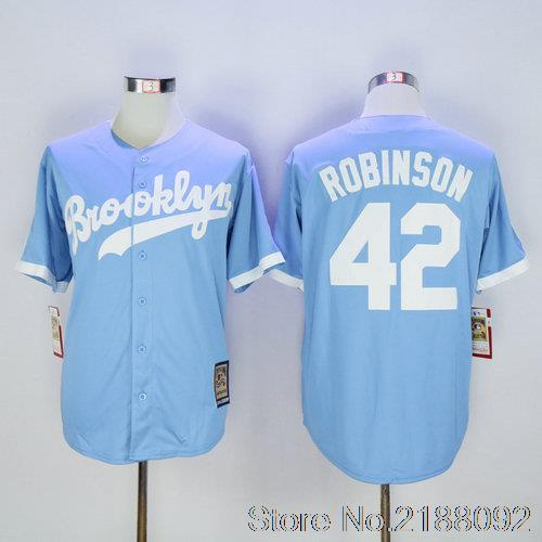 42 Jackie Robinson Embroidery Stitched Baseball Jersey Blue(China (Mainland))