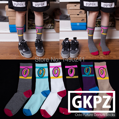 Fashion Tide Brand Weed Style ODD FUTURE DONUTS Sport Cotton Socks for Men & Women Long Skateboard Fixed Gear Stockings(China (Mainland))