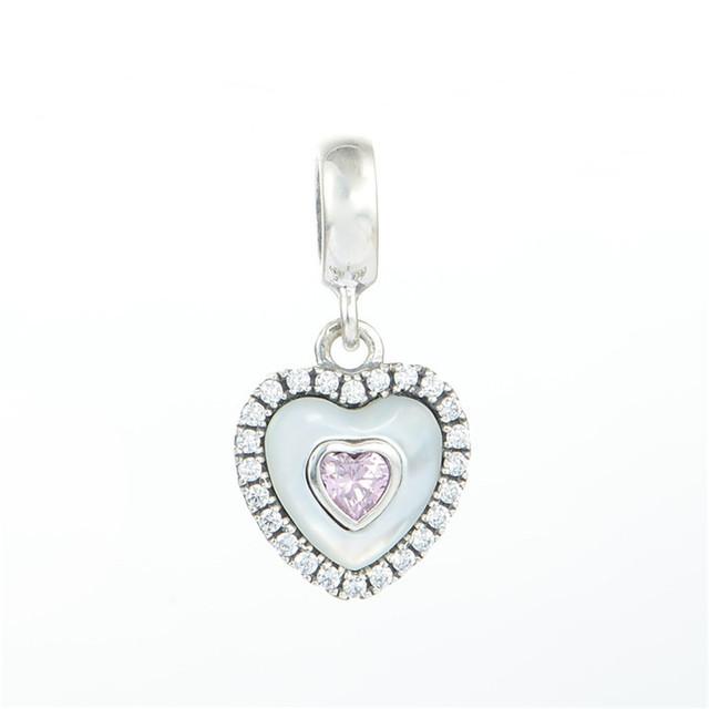 Стерлингового серебра 925 ювелирные изделия в форме сердца в в форме сердца CZ StonesDangel бусины для женщин DIY создание приспосабливать европейские браслеты и ожерелье