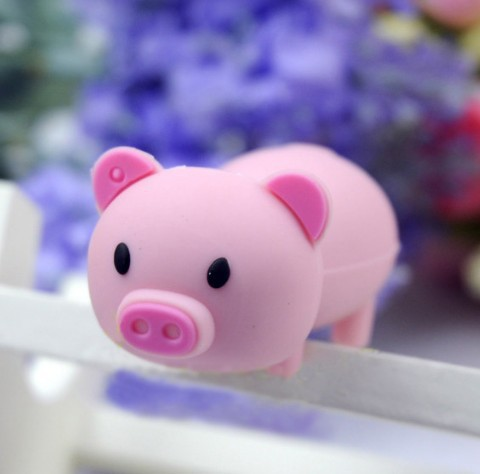Full capacity u disk 10pcs/lot mini pink pig Usb memory pen drive free shipping(China (Mainland))