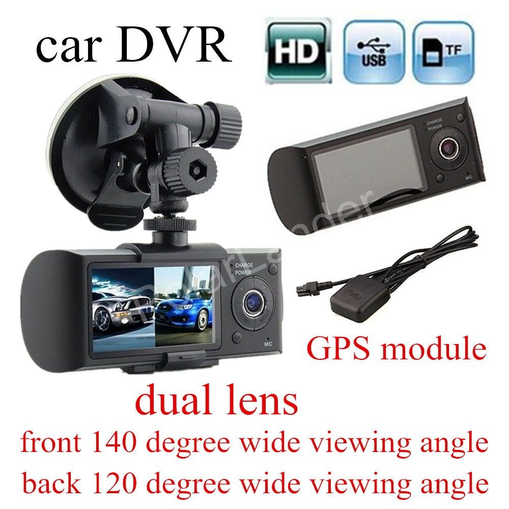 Dual Lens Car DVR X3000 Camcorder dashcam Camera Recorder with GPS module front 140 degree and back 120 deree wide viewing angle(China (Mainland))