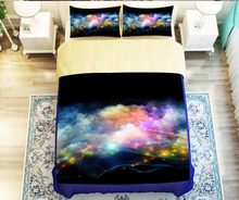 Hipster Galaxy 3D Bedding Set Universe Outer Space Themed Galaxy Print Nebula Aurora Duvet cover shooting Twin queen king #2(China)