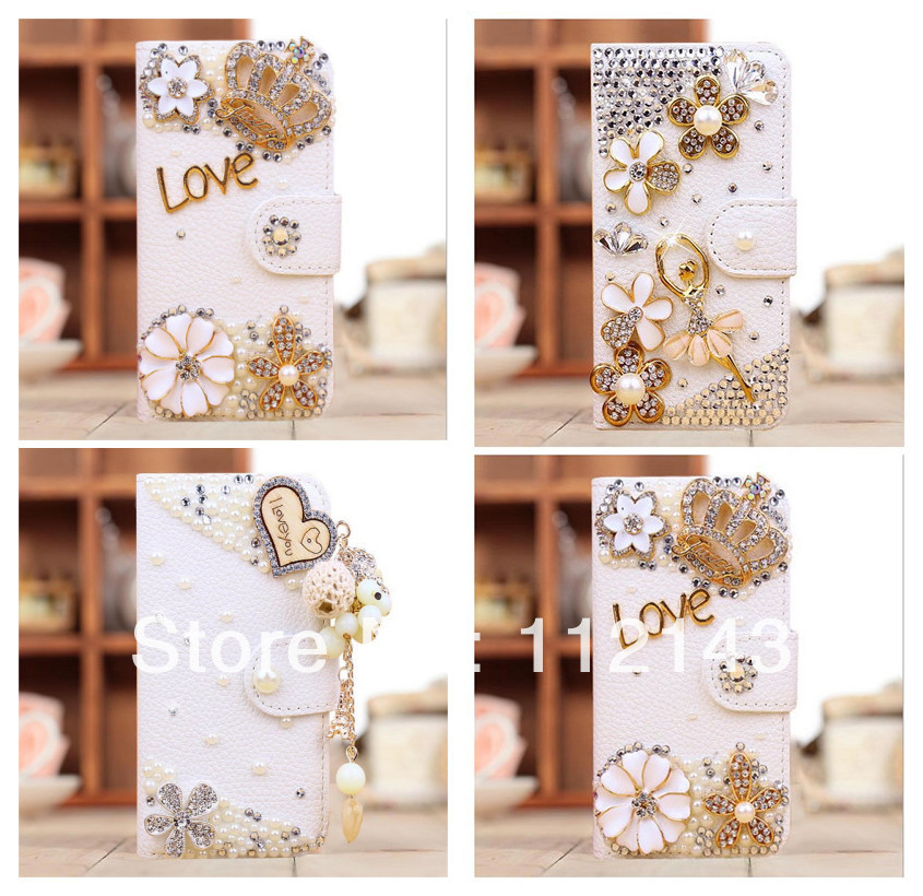 2014 New Pretty Flower 3D Hand-made DIY Luxury Bling mobile cell phone case For Iphone 4 4S Leather Rhinestone cover case(China (Mainland))