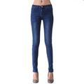 2016 Sexy Jeans Women Plus Velvet Casual Waist Elastic Slim Denim Long Pencil Pants Plus Size Woman  Lady Trousers leggings