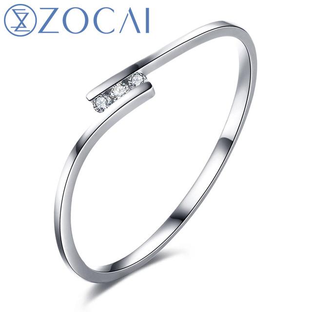 ZOCAI Natural Real 0.02 CT Certified I-J / SI Diamond  Wedding Band Ring 18K White / Rose Gold (Au750)  W00130