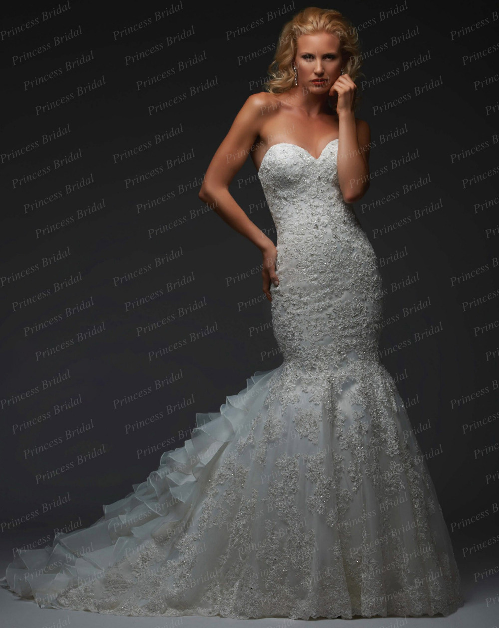 Free shipping fresh style trumpet sweetheart lace up sweep for Wedding dresses trumpet style lace