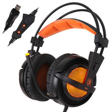 sades A6 USB 7.1 Surround USB gaming headset over ear noise Isolating Breathing LED Lights Mic Headphone for computer 7.1