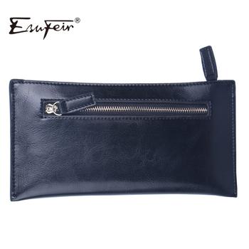 ESUFEIR Microfiber Synthetic Leather Women Wallet Solid Zipper wallet Purse multiple cards holder Clutch Women Standard Wallet
