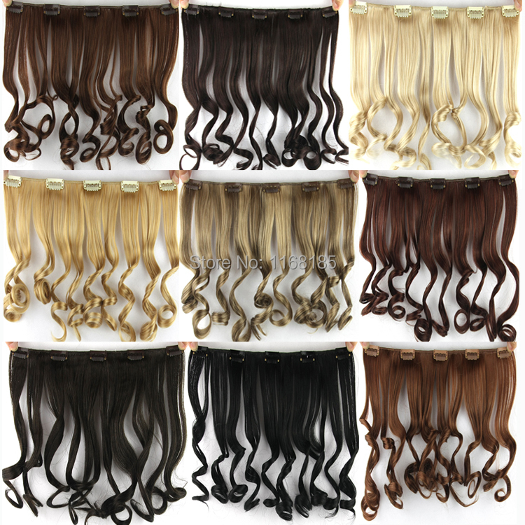 1PC 13inch/35cm 50g Kanekalon Synthetic Hair extensions Clip In 9Colors/Multi Color Wavy Hair<br><br>Aliexpress