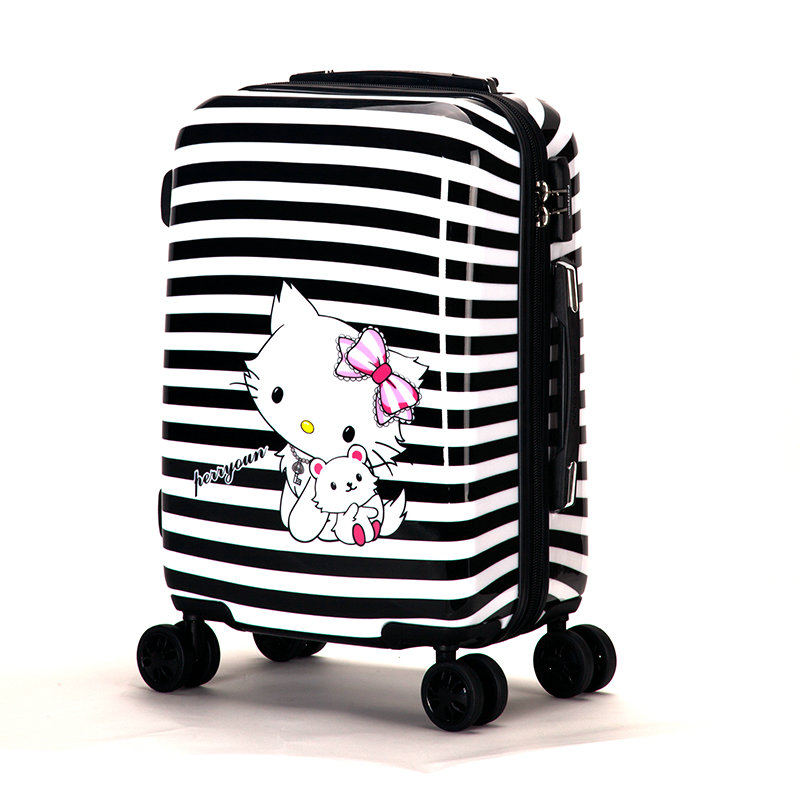 Women Fashion Travel Suitcase&Girls Hello Kitty Luggage ABS+PC Universal Wheels Trolley Bag 20 inch 24 Rolling - Lzahua Bags Store store