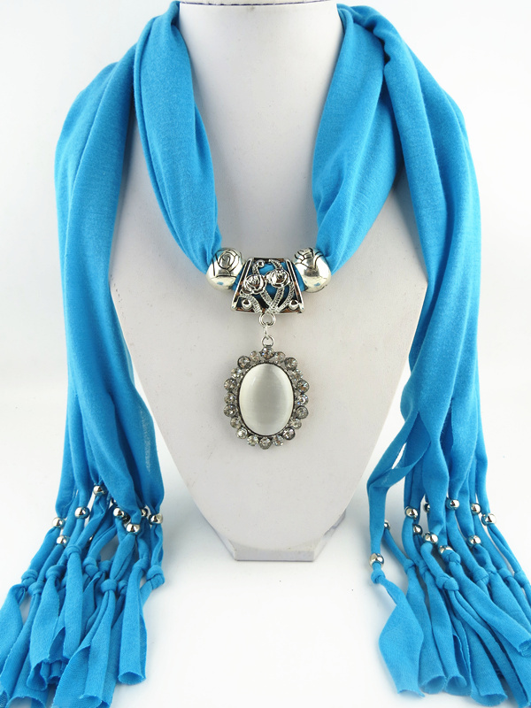 1 2014 Top Popular Scarves Oval Opal Pendant Scarf Free Fast Shipping - Jewelry Shop store