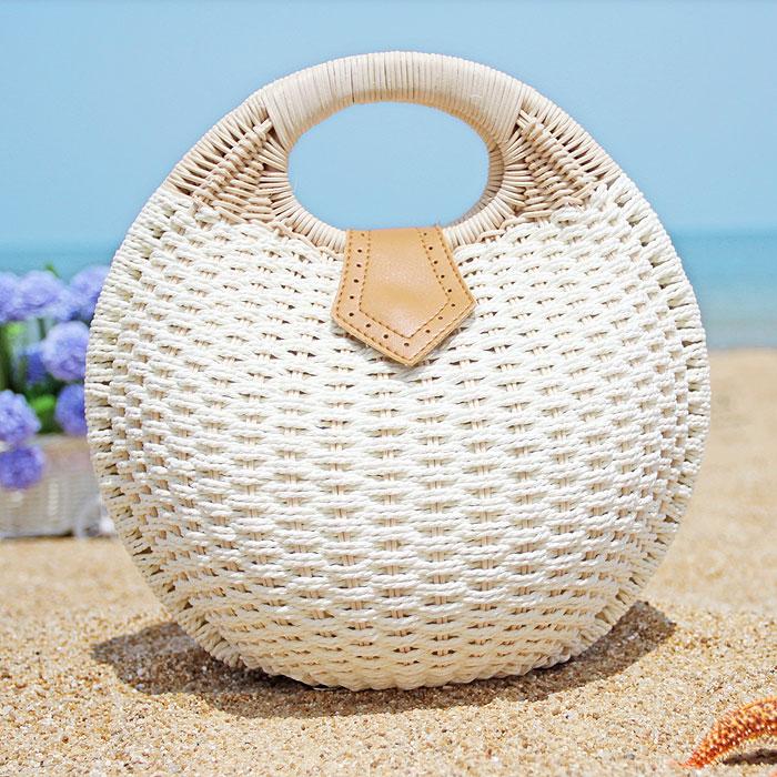 2016 summer handmade woven rattan bag straw bag women's beach bag shell bag()