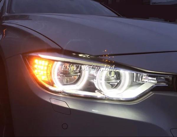 White Yellow E90 sedan LED Angel eyes For BMW E90 SMD LED halo rings daytime running light with turn signal light LED angel eyes
