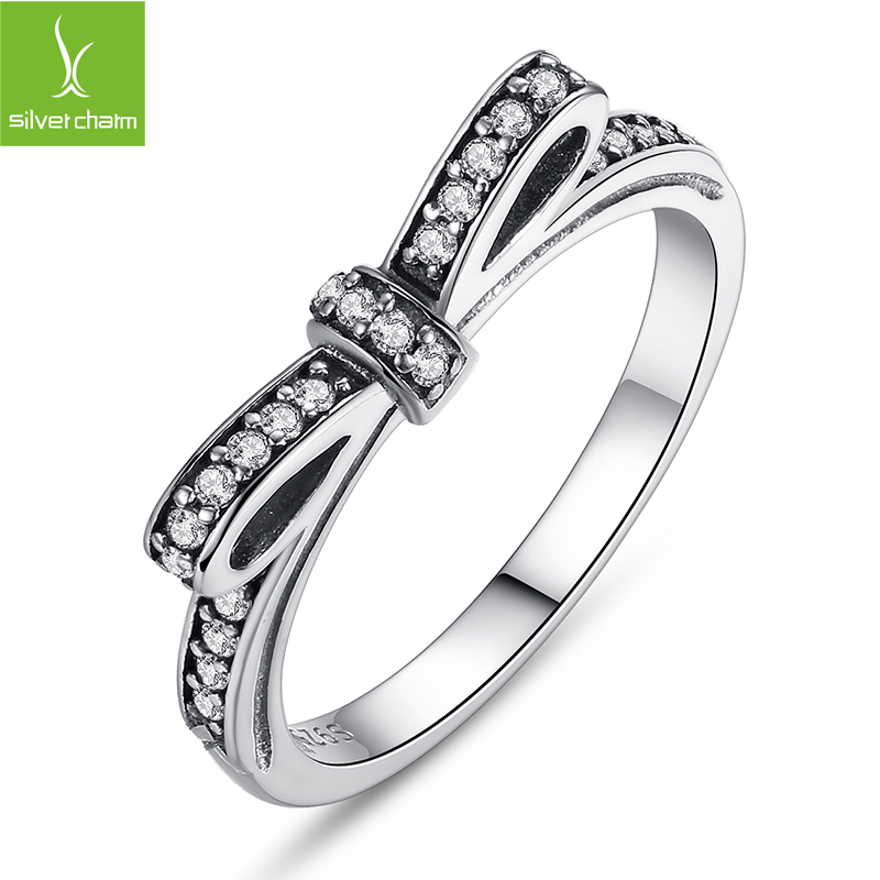 Fashion Authentic 100 925 sterling Silver Wedding Ring With Crystal Compatible With European Fit Original Pandora
