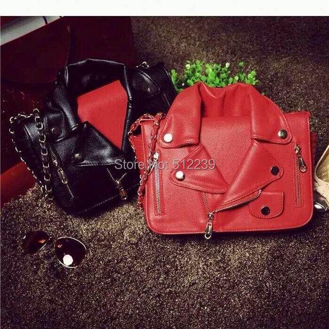 Fashion Cool Pu Leather Bags Women Clothing Jacket Handbag Chain Shoulder Messenger Cross-body Bags Day Clutches Purse #BA330(China (Mainland))