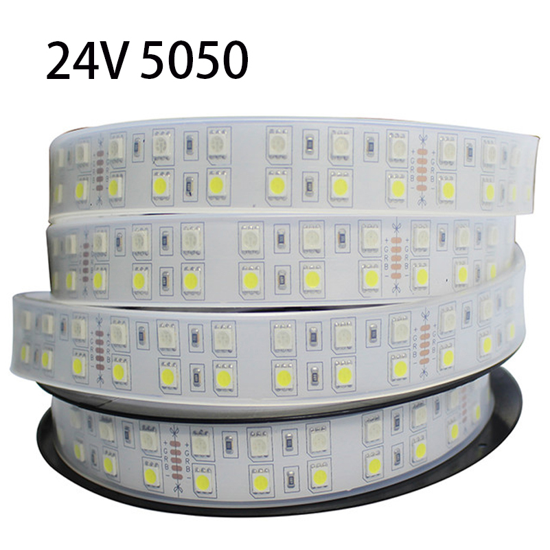 IP67 DC24V Double Ribbon 5050 Led Strip 120Leds/M RGBW/RGBWW With Silicon Waterproof Tape Light For Garden/Swimming Pool Outdoor(China (Mainland))