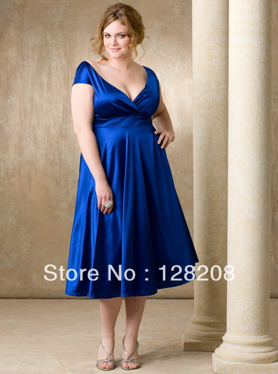 Bridesmaid Dresses Royal Blue Tea Length Dress In Bridesmaid Dresses