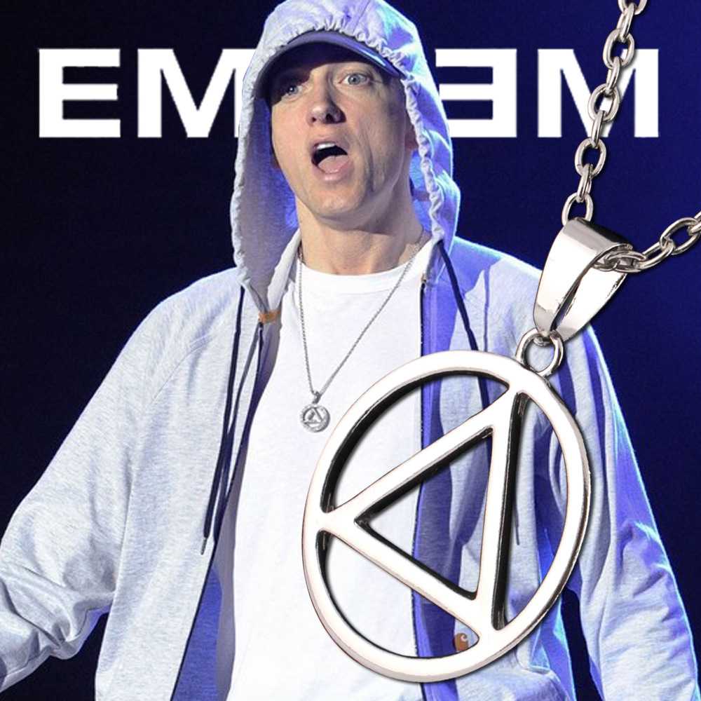 Sunshine Fashion Best Eminem RAPPER Grammy Titanium Steel Chain Pop Pendant Necklace Triangle Geometric Shape - Store 1989 store