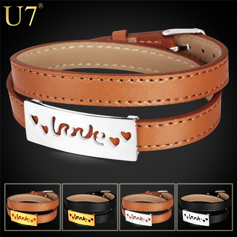 Genuine Leather Bracelet For Women/Men Jewelry Stainless Steel 18K Gold Plated Flower Pattern 4 Options Leather Bracelets H734(China (Mainland))