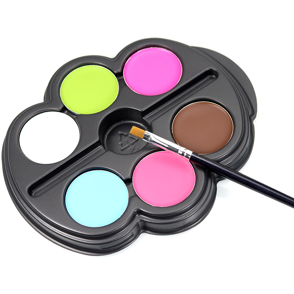New 6 Colors Painting Pigment Set Fluorescence Face Makeup Body Art For Halloween Face Paints With Pen HB88(China (Mainland))