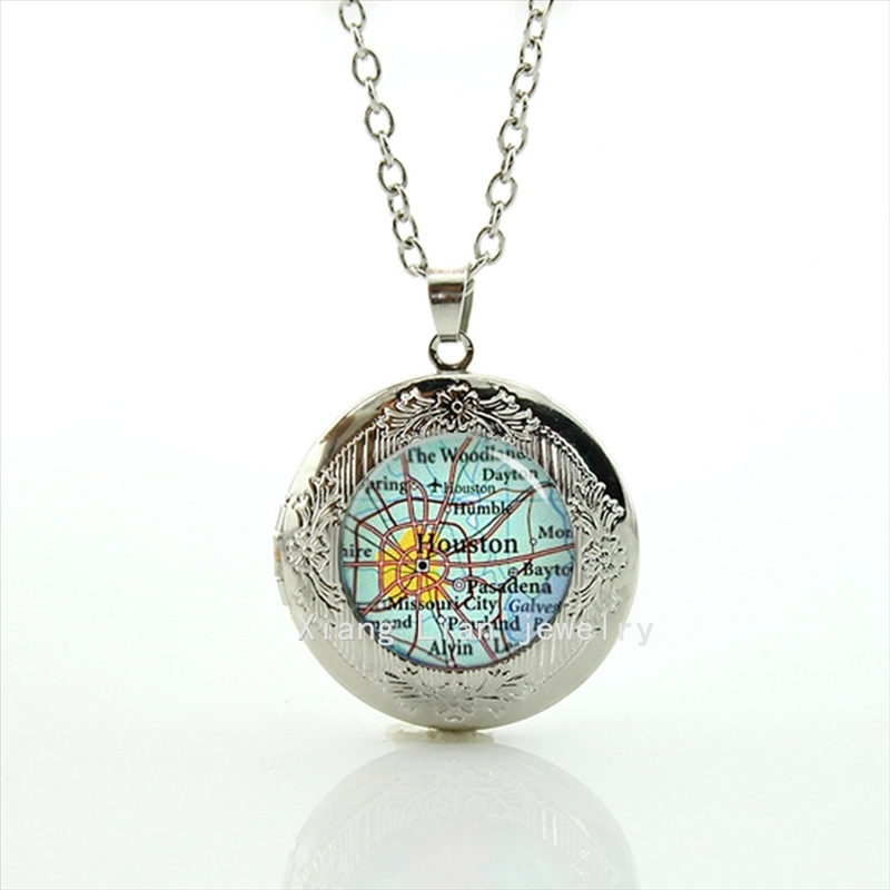 Houston USA Vintage map locket necklace custom Home Town Choose Location map, Custom Unique wedding groom gift T427(China (Mainland))