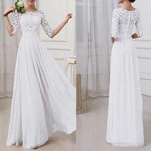 2019 סתיו שמלת נשים מסיבת חתונת שמלות נקבה חלוק שיפון תחרה שמלת מקסי ארוך שמלות אלגנטי גבירותיי שמלה בתוספת גודל 5xl(China)