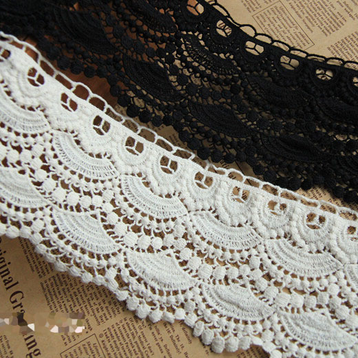 L016 3 Yards DIY Embroidery Cotton Lace Trim For Wedding Hat Bag Clothes Dress Shoes DIY Decor - Free Shipping(China (Mainland))