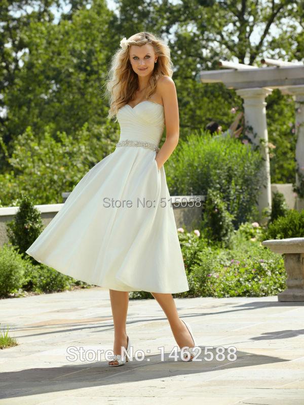 Ivory taffeta pleated sweetheart princess wedding dress for Sweetheart tea length wedding dress