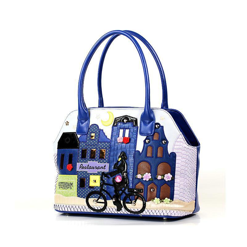 Фотография 2016 Women Handbag Italy Handicraft Art Bike Blue Town Women Shoulder Bag Female Tote Bag Handbag Crossbody