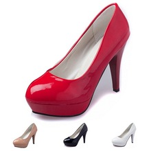 Women Shoes High Heels 2015 Round Toe Summer Autumn Wedding Shoes Women Pumps Tin Heel Sexy High Heels Patent Pu Platform Shoes(China (Mainland))