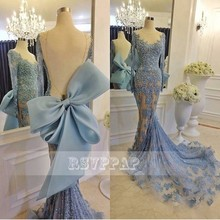 Long Sleeve Arabic Style Evening Dresses 2016 Sexy Sheer Scoop Neckline Backless Beaded Lace Mermaid Women Formal Evening Gowns(China (Mainland))