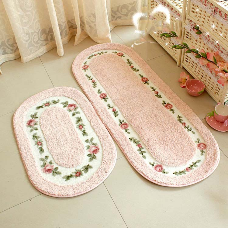 Christmas Oval Pink Rose Rug Living Room Floor Mat Bedroom