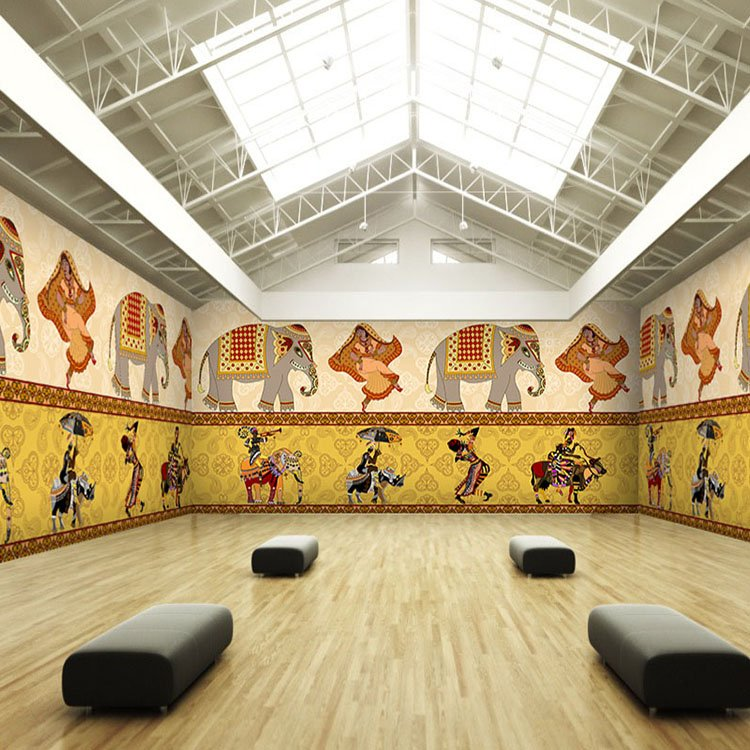 Free shipping Dance room yoga retro wallpaper Southeast Asian ethnic  style restaurant 3D mural dance themed. wallpaper 1 Picture   More Detailed Picture about Free shipping