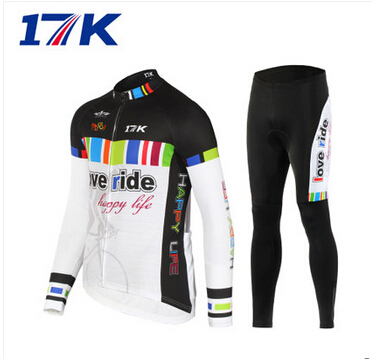 17K Mens Thermal Fleece Quick-dry Base Layer  Wear Cycling Bike Long Sleeve Jersey Tight Pants Winter Sports clothing