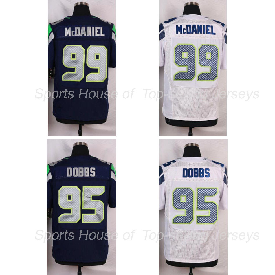 Newest Dobbs Demarcus #95 McDaniel Tony #99 Seattle Top Quality Stiched White Navy Elite American Football Jersey Custom 5XL 6XL(China (Mainland))