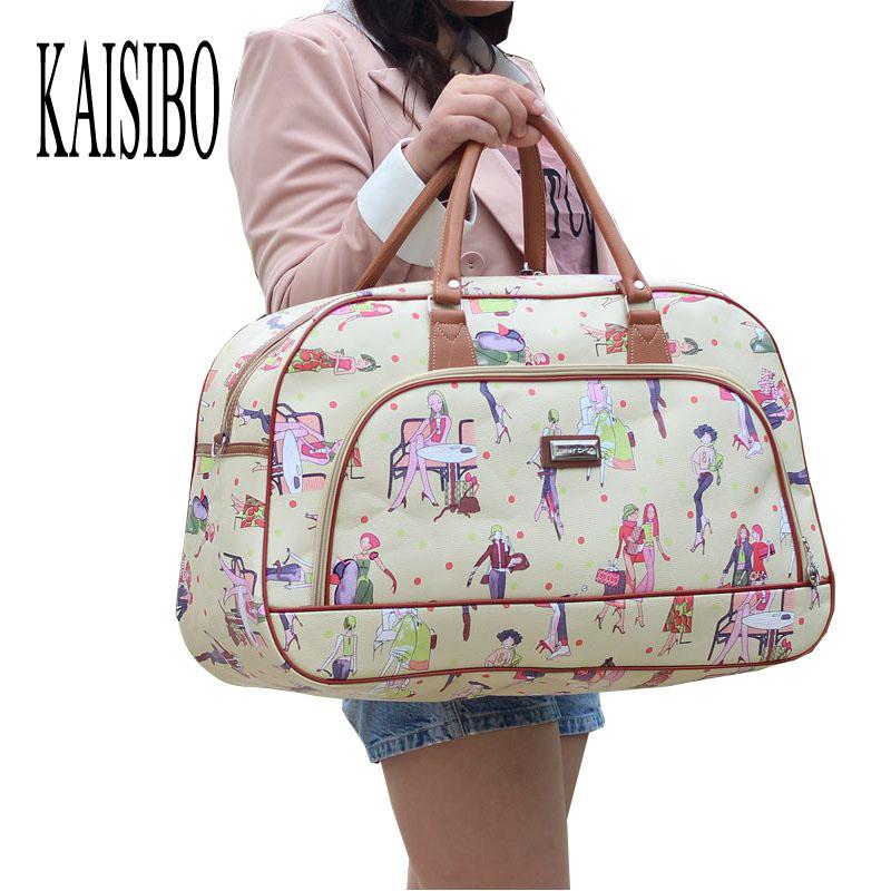 2017 Women Waterproof Travel Bag Summer Style PU Leather Women Bag Travel Duffel Bag New Tower Beauty Lady Print Luggage